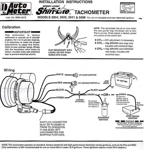 Wiring Diagram Autometer Tach : Wiring diagram for autometer tachometer